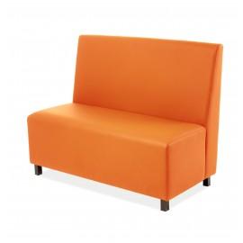 Banco para hostelería ARLEX tapizado y patas de madera naranja
