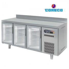 Mesa fría snack puertas de cristal COTSRV200 (202 x 60 cm)