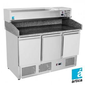 Mesa para pizza refrigerada con vitrina RDMPRVI100