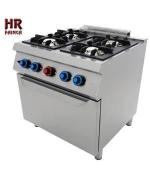 Cocina industrial de 4 fuegos HRC4F750H con horno