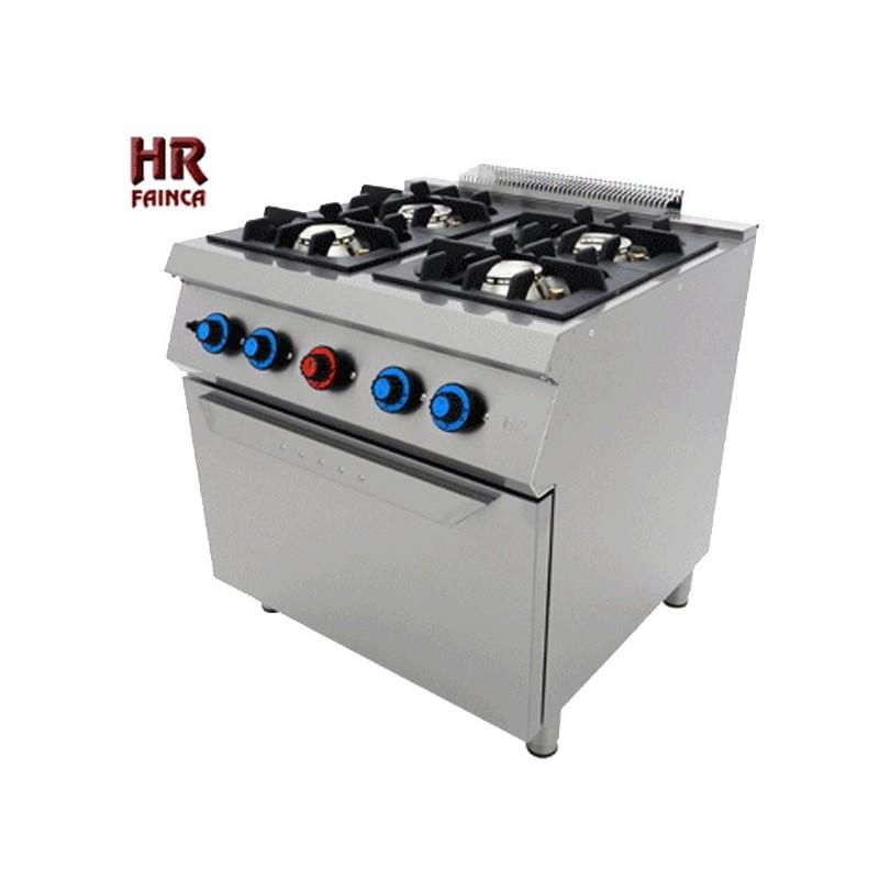 Cocina industrial de 4 fuegos hrc4f750h for Cocina 6 fuegos industrial