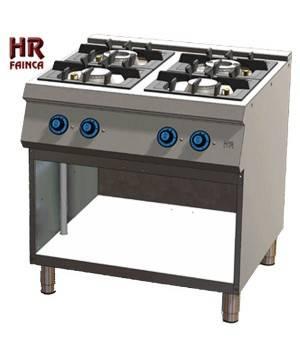 Cocina industrial de 4 fuegos HRC4F750E estante