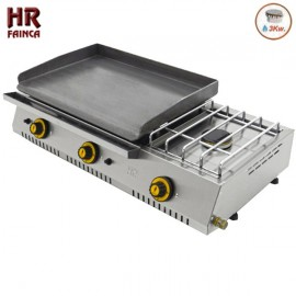 Plancha a gas industrial HRPLC600ECF con fogón