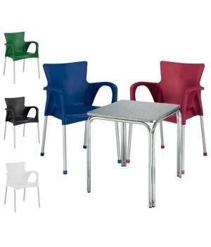 Conjunto 1 mesa cuadrada y 4 sillones FASHION4