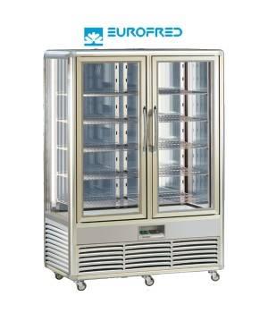 Expositor conservación 4 caras cristal 10 estantes rejilla