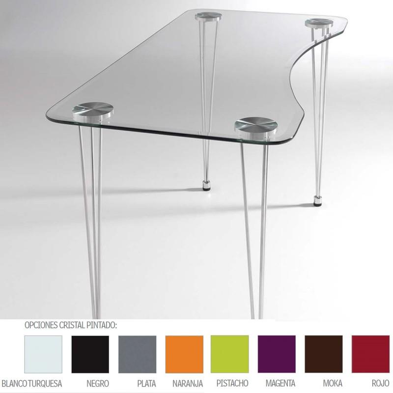 Mesa de cristal biselado lmaries y estructura cromada para interior - Mesa cristal templado ...