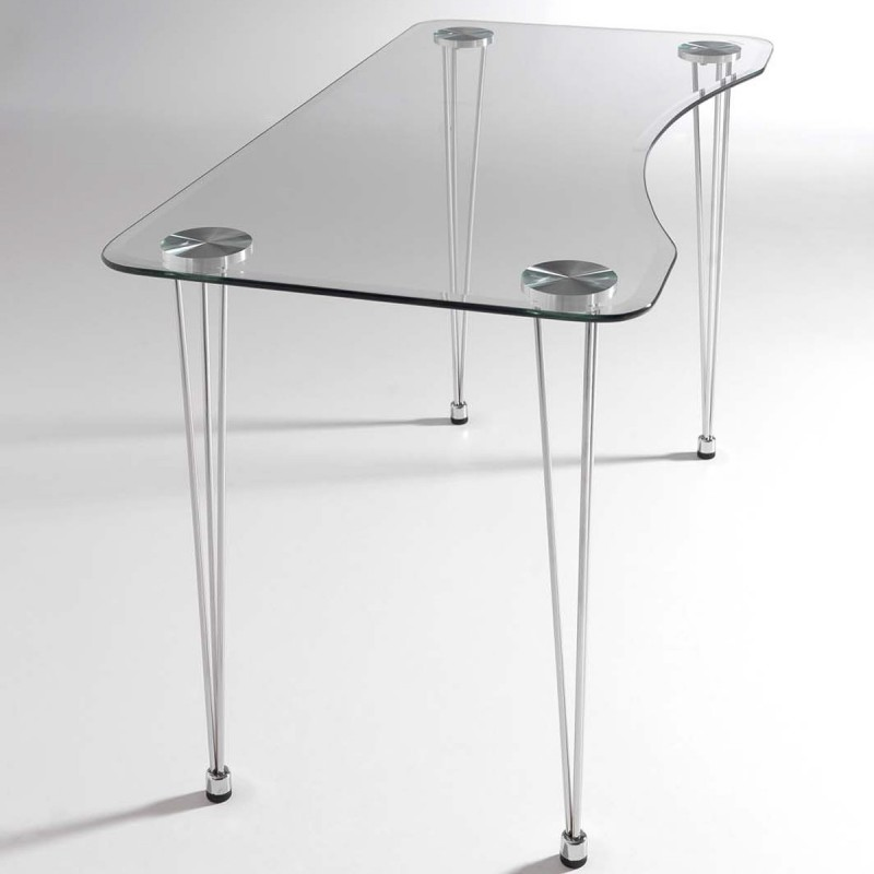 Mesa de cristal biselado lmaries y estructura cromada para for Mesas de salon de cristal