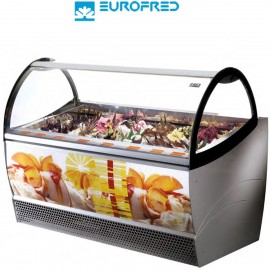 Vitrina de helados cristal curvo 16 cubetas