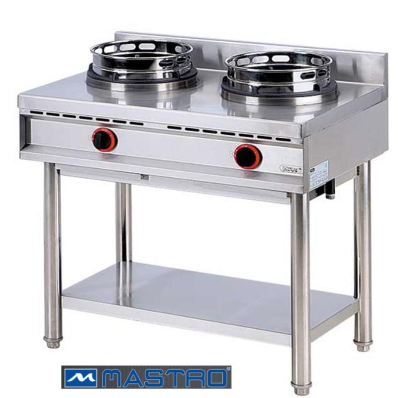 Cocina wok de gas con estanter a 2 fogones mtaha0018 for Fogones industriales a gas
