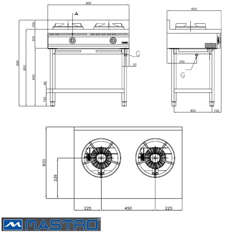 Cocina wok de gas con estanter a 2 fogones mtaha0018 for Medidas de cocina industrial