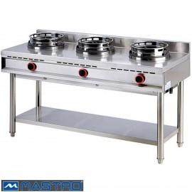 Cocina Wok de gas con estantería 3 fogones