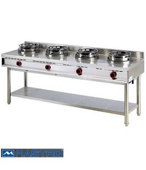 Cocina Wok de gas con estantería 4 fogones