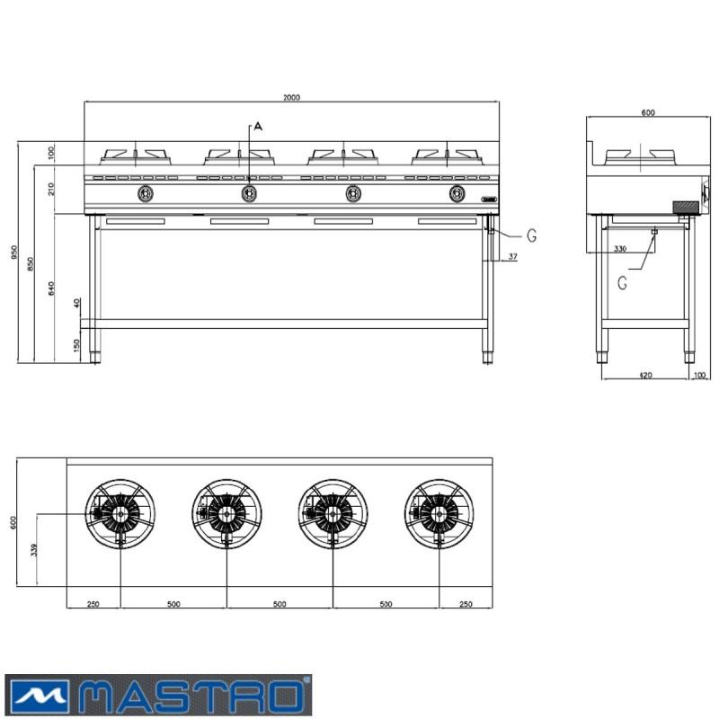 Cocina wok de gas con estanter a 4 fogones mtaha0020 for Cocinar wok