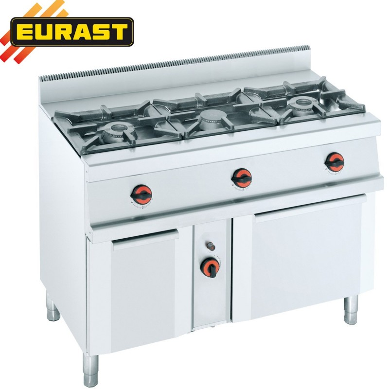 Cocina de gas fondo 60 de 3 fogones armario y horno ets3sb for Cocina gas profesional