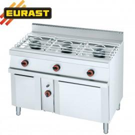 Cocina de gas fondo 60 de 3 fogones, armario y horno