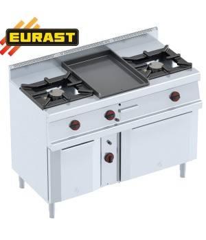 Cocinas 2 fogones con plancha y horno a gas con armario neutro