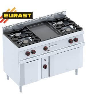 Cocinas 4 fogones con plancha y horno a gas con armario neutro