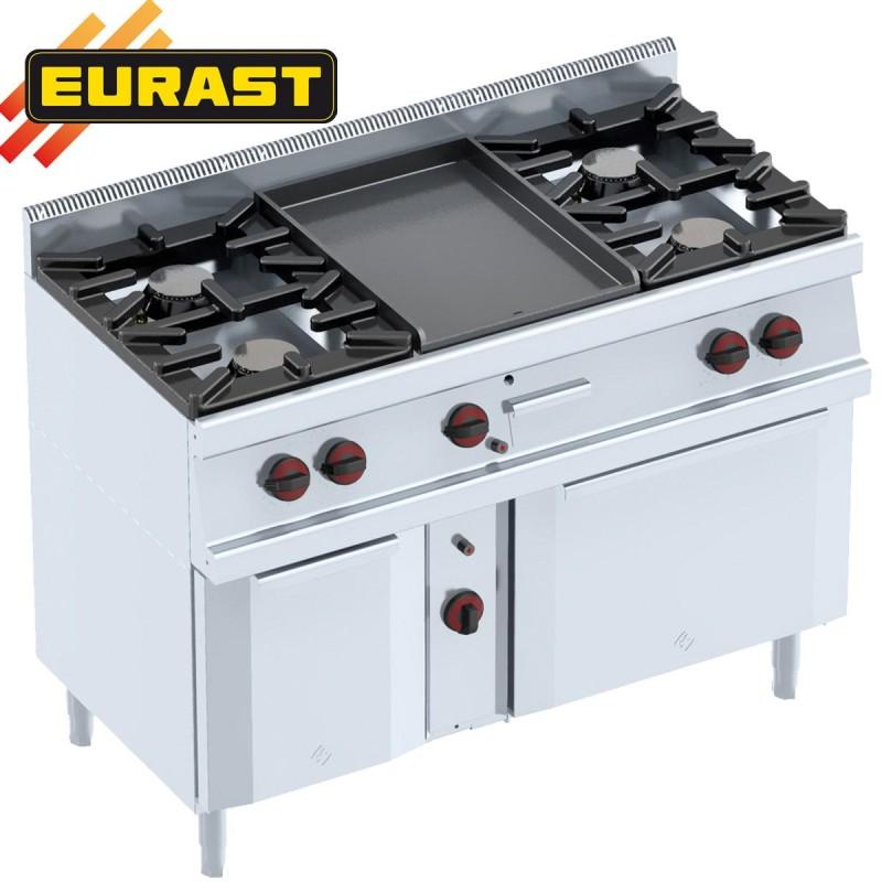 cocinas 4 fogones con plancha y horno a gas con armario