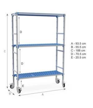 Estantería 3 niveles de aluminio y polipropileno, ruedas. Fondo55.5