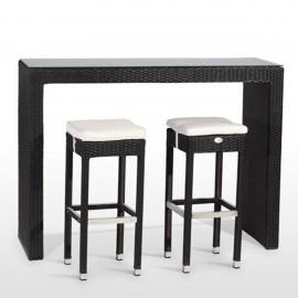Conjunto de mesa alta + 4 taburetes de rattan