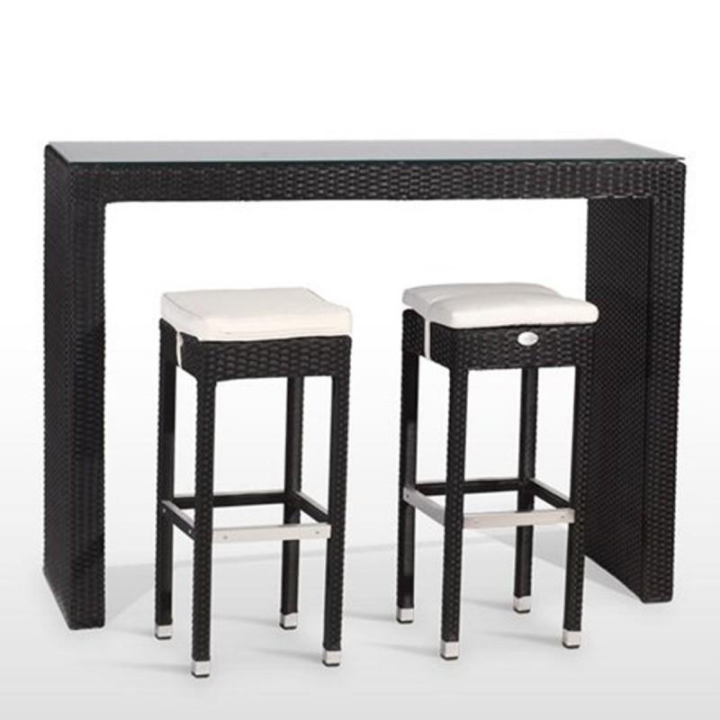 Conjunto de mesa alta con tapa de cristal 6 taburetes de rattan - Mesa alta con taburetes ...