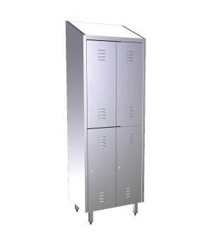 Taquilla de acero inox dos cuerpos cuatro puertas. 081402