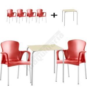 Conjunto terraza mesa y 4 sillones ISSITA-GRACE