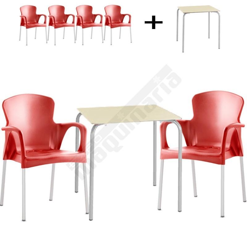 conjunto terraza mesa y 4 sillones issita grace