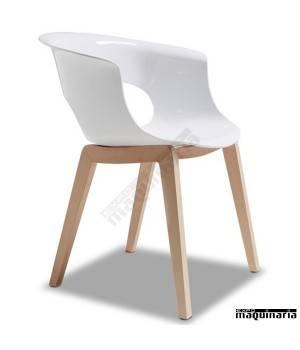 Sillón AGMISS con patas de madera de haya