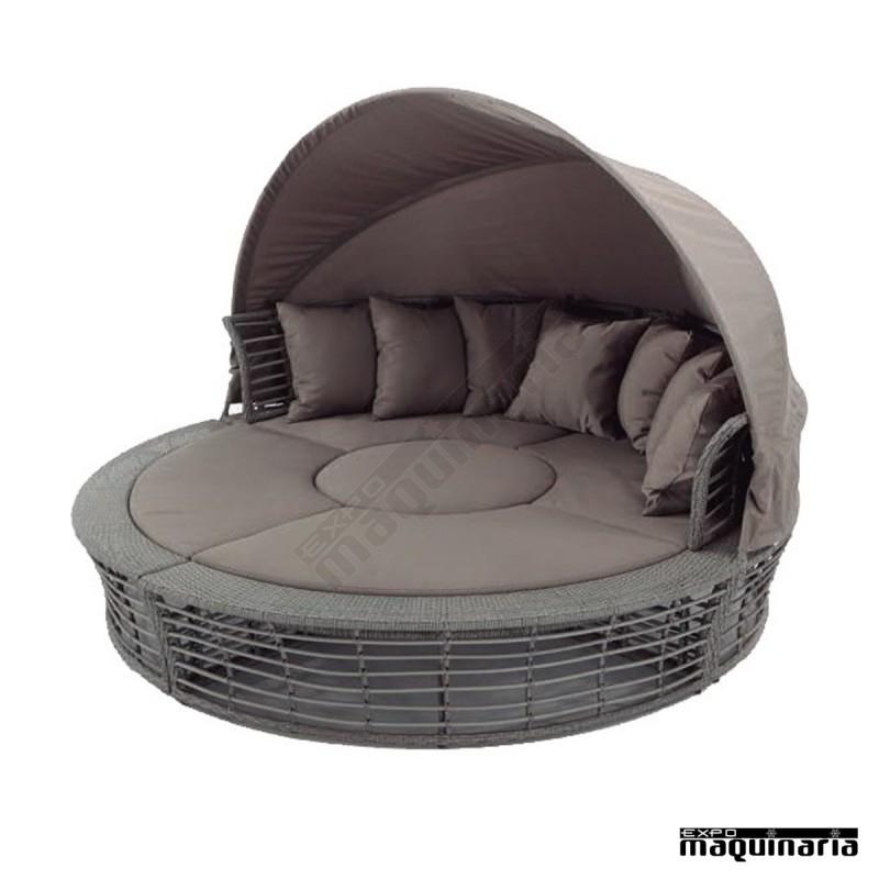 sof redondo con capota agsol de aluminio y rattan