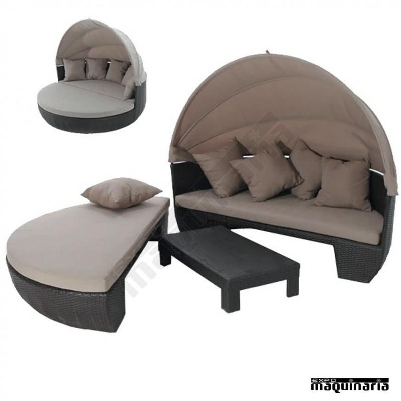 Sof redondo con capota agcombi de aluminio y rattan for Sofa exterior redondo