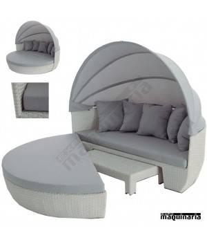 Sofá redondo con capota AGALPINO de aluminio y rattan