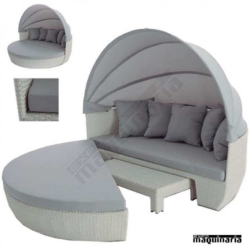 sof redondo con capota agalpino de aluminio y rattan de