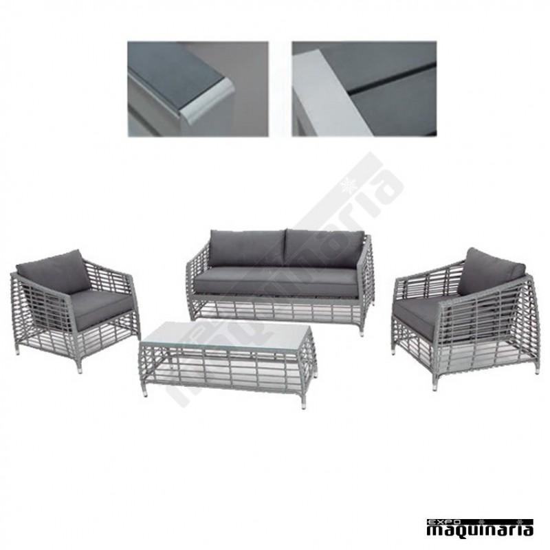 Conjunto para jard n aglight de aluminio y rattan abierto for Conjunto terraza rattan