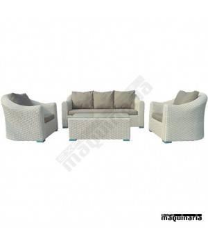 Conjunto para jard n agalpe de aluminio y rattan blanco for Conjuntos de rattan para terrazas