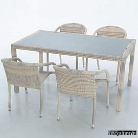 Conjunto para terraza AGTOULA-MARFIL de aluminio y rattan sintético