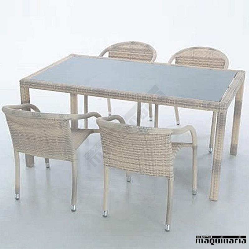 Conjunto terraza agtoula marfil de aluminio y rattan sint tico for Conjunto terraza rattan