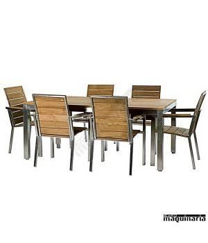 Conjunto para terraza AGTRAIN de acero inox y teka
