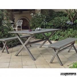 Conjunto para jardín AGCERES de aluminio imitación madera