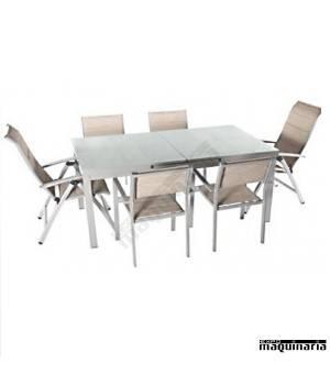 Conjunto para terraza AGNEWTAHA de aluminio y textiline