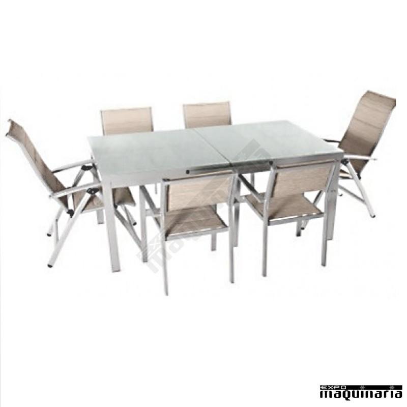 Conjunto jard n agnewtaha de aluminio lacado y textiline for Conjunto jardin aluminio