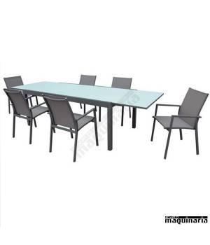 Conjunto para terraza AGSELINA de aluminio y textiline