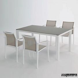 Conjunto para terraza AGALASKA de aluminio y textiline
