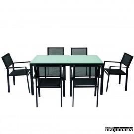 Conjunto para terraza AGTAHA-NEGRO de aluminio y textiline