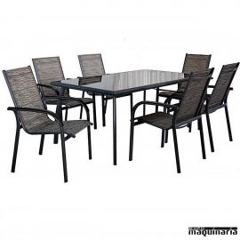 Conjunto para terraza AGCANDY de aluminio y textiline