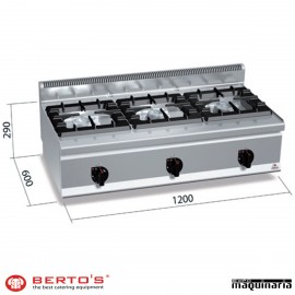 Cocina gas 3 fuegos RMG6F3BH12