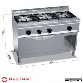Cocina gas 3 fuegos con horno MAXI RMG6F3H12+T