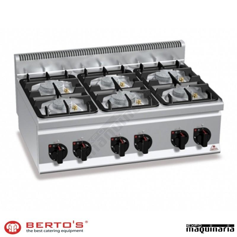 Cocina gas 6 fuegos rmg6f6bpw eco power sobremesa for Cocina 6 fuegos industrial