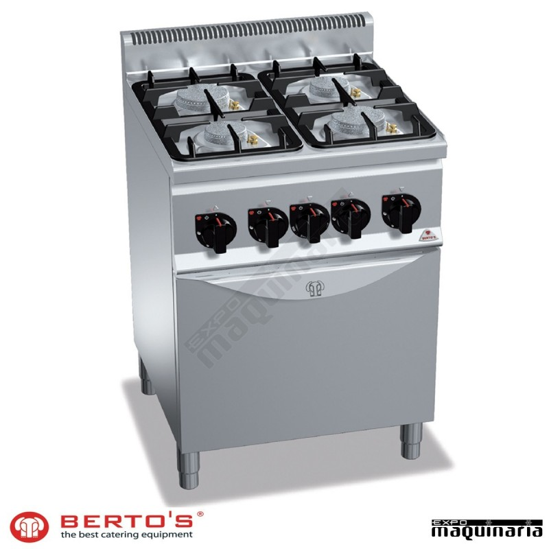 Cocina gas 4 fuegos con horno rmg6f4pw fg1 eco power de for Cocinas 5 fuegos gas