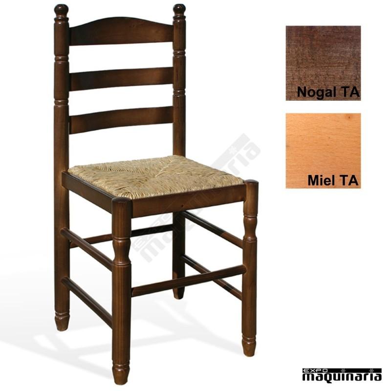 Silla madera rustica eco haya asiento anea 1t210 bar o for Sillas de madera rusticas